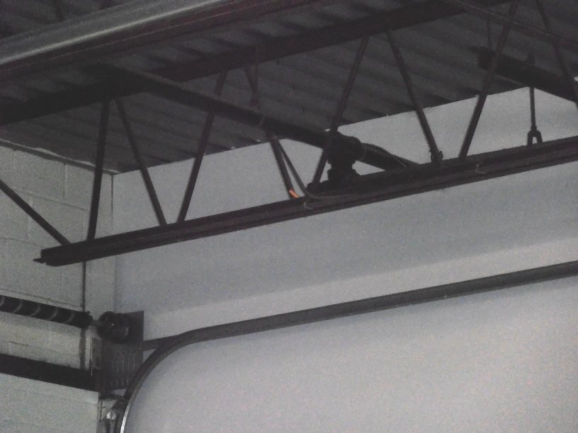 close-up view of nerf projectile in rafters