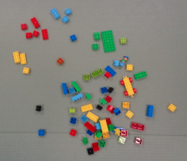 random lego blocks, with a few sorted by color